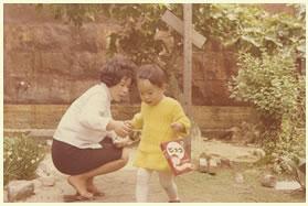 庭でママと1年8ヶ月